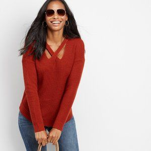 Maurices X-front Pullover Sweater Rust Red M